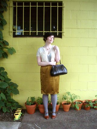 a5082c7d97e8 Ruffle cardigan - JCrew (shortened by me) Silk blouse - local cheapster  boutique last year. Skirt - JCrew. Tights - Target Shoes - Remix Bag -  vintage