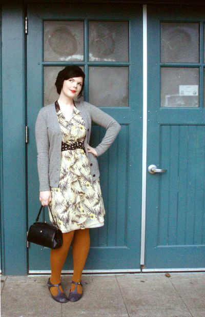d5955c1f7ad7ef Some girls 2139. Cardigan - JCrew. Dress - Anthropologie Tights - EG Smith  Shoes - All Black Bag - vintage. Belt - repurposed from an old skirt