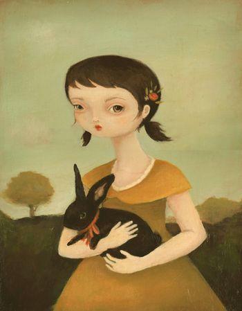 Portrait with Black Bunny low