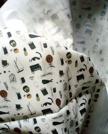 I just got some yardage of teensy tattoo fabric back from Spoonflower.