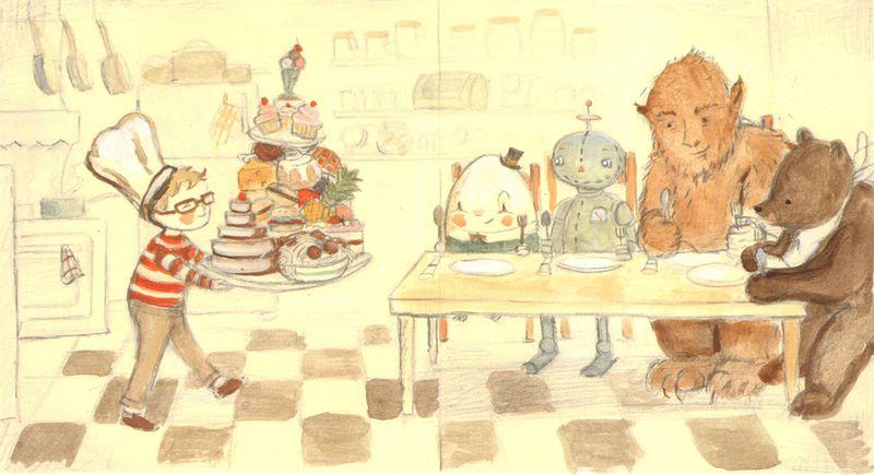 Bear Boy Scene color sketchLow